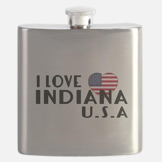 I Love Indiana U.S.A State Flask