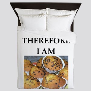 Funny breakfast joke Queen Duvet
