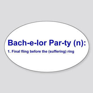 Bachelor Party 2 Oval Sticker
