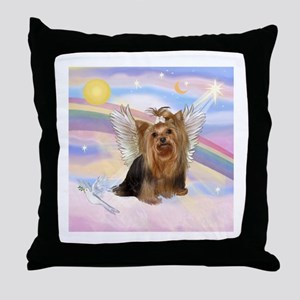 Yorkie Angel in Clouds Throw Pillow