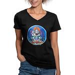 Buddha with Consort Women's V-Neck Dark T-Shirt