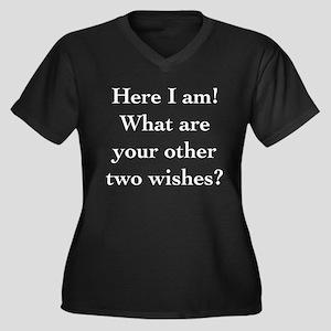 Here I Am Women's Plus Size V-Neck Dark T-Shirt