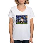 Starry Night / Sheltie (t) Women's V-Neck T-Shirt