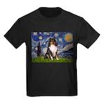 Starry Night / Sheltie (t) Kids Dark T-Shirt