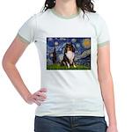 Starry Night / Sheltie (t) Jr. Ringer T-Shirt