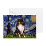 Starry Night / Sheltie (t) Greeting Cards (Pk of 2