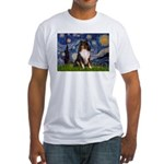 Starry Night / Sheltie (t) Fitted T-Shirt