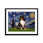 Starry Night / Sheltie (t) Framed Panel Print