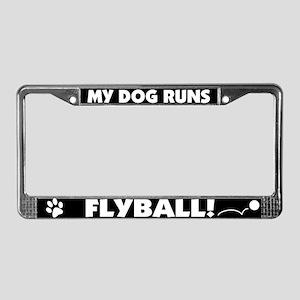 My Dog Runs Flyball License Plate Frame