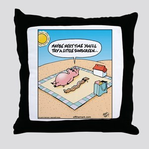 Pig Bacon Sunscreen Throw Pillow
