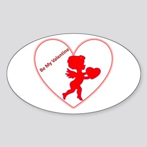 Be My Valentine Cupid Oval Sticker
