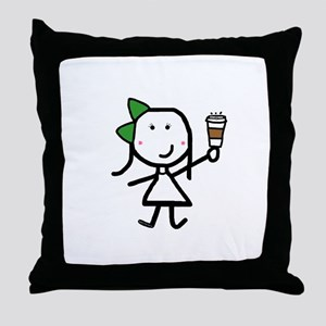 Girl & Coffee Throw Pillow