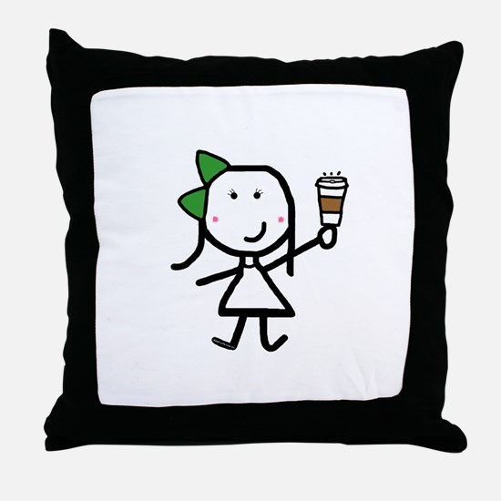 Girl & Coffee Throw Pillow