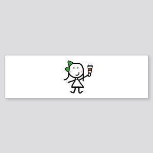 Girl & Coffee Sticker (Bumper)