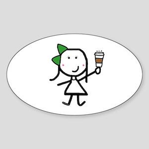 Girl & Coffee Sticker (Oval)