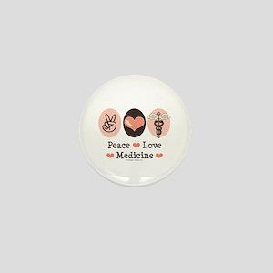 Peace Love Medicine Caduceus Mini Button
