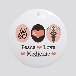 Peace Love Medicine Caduceus Ornament (Round)
