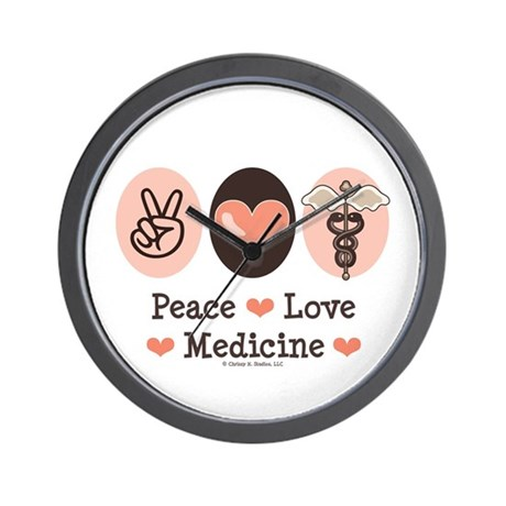 Peace Love Medicine Caduceus Wall Clock