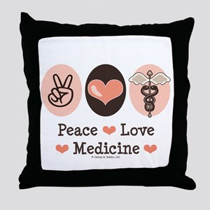 Peace Love Medicine Caduceus Throw Pillow