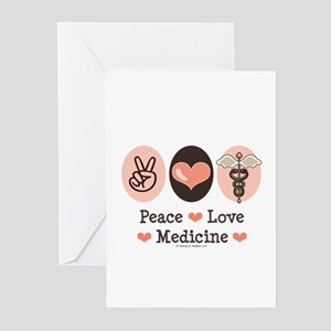 Peace Love Medicine Caduceus Greeting Cards (Pk of
