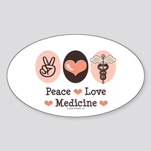 Peace Love Medicine Caduceus Oval Sticker