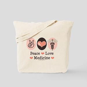 Peace Love Medicine Caduceus Tote Bag