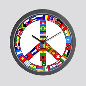 Flags Peace Sign Wall Clock