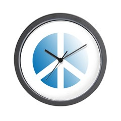 Sky Blue and White Peace Symbol Wall Clock