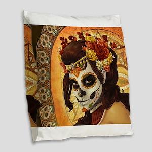 Dia De Los Muertos Burlap Throw Pillow