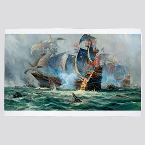 Battle Ships At War Painting 4' x 6' Rug