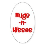 Hugs and Kisses Oval Sticker