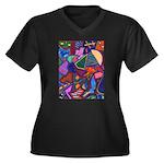 ManOwar Women's Plus Size V-Neck Dark T-Shirt