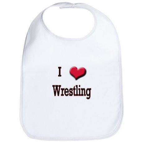 I Love (Heart) Wrestling Bib
