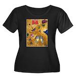 Big Moth Women's Plus Size Scoop Neck Dark T-Shirt