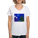 Moon Women's V-Neck T-Shirt