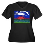 Sunset Women's Plus Size V-Neck Dark T-Shirt