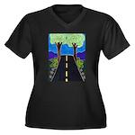Road Women's Plus Size V-Neck Dark T-Shirt