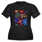 Flowers Women's Plus Size V-Neck Dark T-Shirt