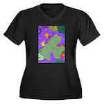 Fallen Leaves (purple) Women's Plus Size V-Neck Da