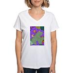 Fallen Leaves (purple) Women's V-Neck T-Shirt