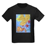 Fallen Leaves (blue) Kids Dark T-Shirt