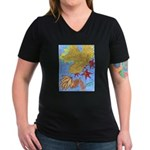 Fallen Leaves (blue) Women's V-Neck Dark T-Shirt