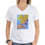 Fallen Leaves (blue) Women's V-Neck T-Shirt