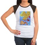 Fallen Leaves (blue) Women's Cap Sleeve T-Shirt