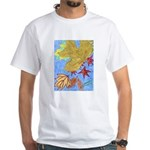 Fallen Leaves (blue) White T-Shirt