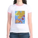 Fallen Leaves (blue) Jr. Ringer T-Shirt