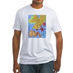 Fallen Leaves (blue) Fitted T-Shirt