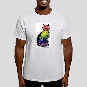 Rainbow Gay Pride Cat Ash Grey T-Shirt