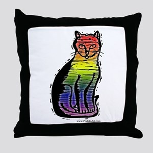 Rainbow Gay Pride Cat Throw Pillow