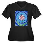 Flower Aura Women's Plus Size V-Neck Dark T-Shirt